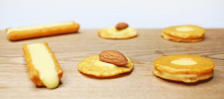 チーズおかき3種類:①欧風チーズ、②チーズアーモンド、③チーズおかき(撮影写真)